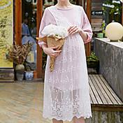 Mujer Encaje Vestido Casual/Diario Simple,Un Color Escote Redondo Hasta la Rodilla 1/2 Manga Azul / Rosa Rayón Otoño Tiro Medio