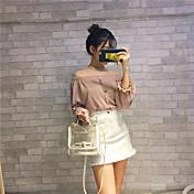 firmar 2016 otoño nueva palabra dulce hombro suéter a rayas de manga larga hoja de loto femenina