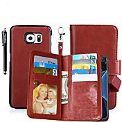 Para Porta-Cartão / Carteira / Com Suporte / Flip / Magnética Capinha Corpo Inteiro Capinha Cor Única Rígida Couro PU SamsungS6 edge plus