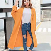 Mujer Largo Cardigan Noche Bonito,Un Color Naranja Morado Halter Manga Larga Algodón Acrílico Otoño Medio Microelástico