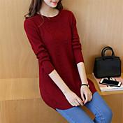 Mujer Regular Pullover Casual/Diario Simple,Un Color Escote Redondo Manga Larga Algodón Acrílico Otoño Invierno Medio Rígido