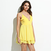 Mujer Línea A / Corte Skater Vestido Sexy,Un Color Con Tirantes Mini Sin Mangas Negro / Amarillo Algodón / Otro Primavera Tiro Medio