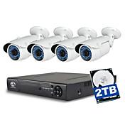 jooan® 4ch 1080p NVR s 2TB hdd 4ks 2MP vodotěsný PoE IP kamera pro noční vidění 100 ft 48V Power over Ethernet