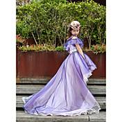 Kjole kjole asymmetrisk blomst pige kjole - tulle charmeuse ærmerøs off-the-skulder med perle