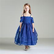 姫の足首の長さ花の女の子のドレス - ビーズと綿の半袖ジュエルネック