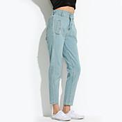 Mujer Vaqueros Pantalones,Un Color Casual/Diario Sencillo Tiro Medio Botón / Cremallera Poliéster Micro-elástica Verano