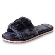 Mujer-Tacón PlanoZapatillas y flip-flop-Informal-Piel de Oveja-Negro Gris Fucsia Púrpula Claro Azul