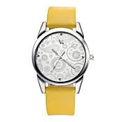 V6 Mujer Reloj de Vestir Reloj de Moda Reloj Casual Reloj de Pulsera Cuarzo Resistente al Agua / PU Banda Flor Casual Negro MarrónBlanco