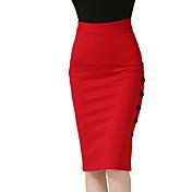 Mujer Sencillo Chic de Calle Trabajo Casual/Diario Hasta la Rodilla Faldas,Lápices Corte Bodycon Separado Primavera Otoño Un Color