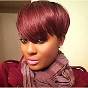 Mulher Perucas de cabelo capless do cabelo humano Preto Vinho escuro Curto Liso Corte Pixie Corte em Camadas Com Franjas Parte lateral