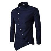 男性 カジュアル/普段着 シャツ,シンプル シャツカラー 千鳥格子 ブルー レッド ホワイト ブラック コットン 長袖