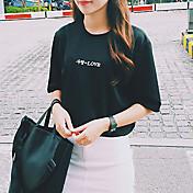 女性 カジュアル/普段着 お出かけ 夏 Tシャツ,シンプル 活発的 ラウンドネック ソリッド ホワイト ブラック ポリエステル 半袖 薄手