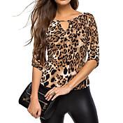Feminino Camiseta Casual Simples Todas as Estações,Leopardo Preto Raiom Poliéster Decote V Manga Longa Fina