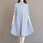 Dámské Vintage Jednoduché Roztomilé Jdeme ven Běžné/Denní Velké velikosti Volné Šaty Proužky,Dlouhý rukáv Košilový límec Asymetrické Modrá