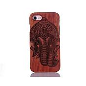 Para Antigolpes En Relieve Diseños Funda Cubierta Trasera Funda Elefante Dura Madera para AppleiPhone 7 Plus iPhone 7 iPhone 6s Plus/6