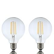6W E26/E27 Bombillas de Filamento LED G95 4 COB 600 lm Blanco Cálido Regulable AC 100-240 V 2 piezas
