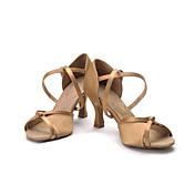 Na míru-Dámské-Taneční boty-Latina Slasa-Satén-Rozšiřující se-Černá Modrá Hnědá Fialová Červená Tmavě hnědá