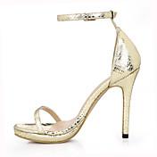 女性-ウェディング ドレスシューズ パーティー-PUレザー-スティレットヒール-コンフォートシューズ 靴を点灯-サンダル-ブラック ゴールド