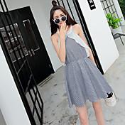 サインストラップレスウエストのドレス2016韓国のスリムチェック柄のコットンドレス