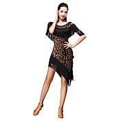 Baile Latino Accesorios Mujer Entrenamiento Fibra de Leche Leopardo 2 Piezas Manga de longitud 3/4 Cintura Media Top Falda