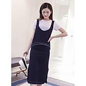 ヨーロッパと韓国の2016年夏の新しい余暇のストラップのベストTシャツのバストのスカートスリーピース女性
