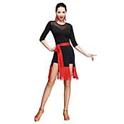 Baile Latino Vestidos Mujer Entrenamiento Fibra de Leche Cinturón/Cinta 2 Piezas Manga de longitud 3/4 Cintura Media Vestido Cinturón