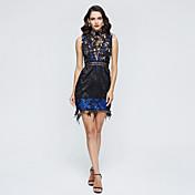 Corte en A Cuello Alto Corta / Mini Encaje Fiesta de Cóctel Vestido con Encaje Plisado por TS Couture®