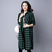 firmar mujeres de gran tamaño del vestido coreano camisa de algodón literaria manga larga a cuadros Hitz