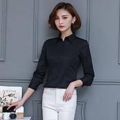 Mujer Simple Entrenamiento Oficina/Carrera Formal Ropa de Negocios Otoño Camisa,Cuello Camisero Color sólido Manga Larga N/A Medio