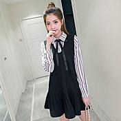 文学カレッジ風新鮮な韓国のストライプVネックの弓のドレスシャツフェイク2セットに署名