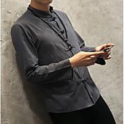 Hombre Vintage Casual/Diario Primavera Otoño Camisa,Cuello Mao Un Color Manga Larga Algodón Lino Medio