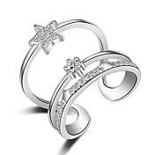 指輪 パーティー カジュアル スポーツ ジュエリー 銀メッキ 指輪 1個,調整可 シルバー