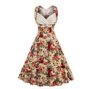 Mujer Línea A Vestido Noche Casual/Diario Vintage Chic de Calle,Floral Escote Corazón Hasta la Rodilla Sin Mangas Algodón VeranoTiro