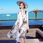 Mujer Corte Ancho Recto Vestido Noche Casual/Diario Playa Simple Sofisticado,Floral Escote Redondo Hasta la Rodilla 1/2 Manga Blanco Seda