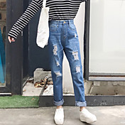 firmarán nuevos vaqueros del agujero de la personalidad del resorte pantalones vaqueros rectos de los pantalones delgados femeninos