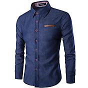 男性 カジュアル/普段着 春 夏 シャツ,シンプル シャツカラー ソリッド ブルー コットン 半袖 薄手 ミディアム