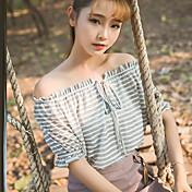 2017 primavera nuevo instituto coreano de la tela a rayas corbata viento marea párrafo corto de manga corta de la camiseta femenina floja