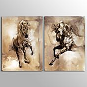 キャンバスプリント 動物 クラシック,2枚 キャンバス 縦長 版画 壁の装飾 For ホームデコレーション