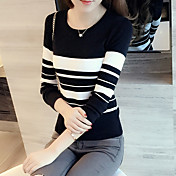 スポット2017新しいスリム短いパラグラフ薄い黒と白のストライプの長袖のセーターの秋のセーターの女性