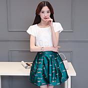 スリム半袖ピース嵌スカートワードスカートの符号2016夏の新しい女性のプリントドレス韓国語バージョン