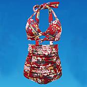 De las mujeres Tankini-Cintura Alta MonocolorHalter-Nailon