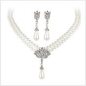 Šperky Set Křišťál Perly Napodobenina perel Štras imitace Diamond Slitina Pro nevěstu Stříbrná Svatební Párty Denní Ležérní 1Nastavte1 x