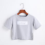 Mujer Simple Casual/Diario Primavera Verano Camiseta,Escote Redondo Estampado Manga Corta Algodón
