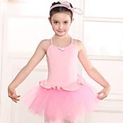 Ballet Vestidos Niños Entrenamiento Algodón Encaje 1 Pieza Mangas cortas Cintura Media Leotardo