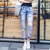 春と夏の穴のジーンズ女性の小さなストレートパンツの崩壊9大きなヤード緩い、カジュアルなコットンパンツ潮9