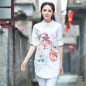 春の綿の刺繍シャツ女性ヤードシャツ緩い中国刺繍中国風の国家風のシャツ