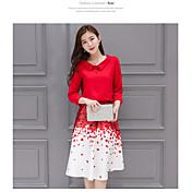 2017 nueva camisa de vestir de impresión pétalo rojo de dos piezas de falda