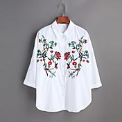 Mujer Simple Casual/Diario Trabajo Primavera Verano Camiseta,Cuello Camisero Bordado Manga Larga Algodón