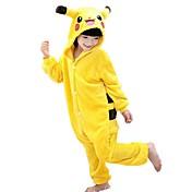 Kigurumi Pijamas Pika Pika Leotardo/Pijama Mono Festival/Celebración Ropa de Noche de los Animales Halloween Verde Amarillo Retazos