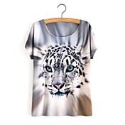 Simple Bonito Casual/Diario Primavera Verano Camiseta,Escote Redondo Estampado Manga Corta Algodón Gris Opaco